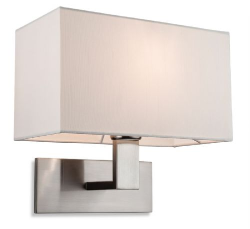 Raffles Single Wall Light, Brushed Steel with Cream Shade, 4939BS